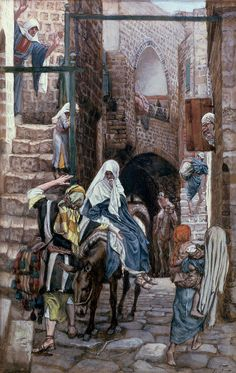 Saint Joseph Seeks Lodging In Bethlehem by James Tissot {c.1886-94} ~ gouache on paperboard ~ Jesus Mary Holy Family Nativity