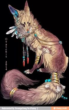 """Eesa"" by Tatchit. (This is really more of a wolf than a fox, but I like it nonetheless.) Eesa is Camile's​ pet. Pet Anime, Anime Art, Anime Animals, Animal Drawings, Art Drawings, Character Inspiration, Character Art, Magical Creatures, Cute Fantasy Creatures"