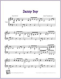 Danny Boy | Free Sheet Music for Harp - http://www.makingmusicfun.net/htm/f_printit_free_printable_sheet_music/danny-boy-harp.htm