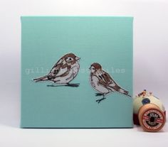 Sparrows Limited Edition Embroidery Art Canvas by gillianbates