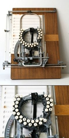 A typewriter for musical notation.. oddly mirroring another design for writing words and numbers that fell by the way-side.