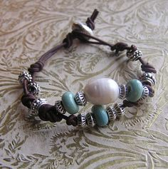 SALE...Beaded Leather Bracelet...Large Freshwater Pearl Antique Silver and Aqua. $18.00, via Etsy.