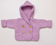 Hand Knit Hoodie Baby Jacket - 0-3 months. €30,00, via Etsy.
