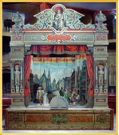 German toy theatre from 1890 showing a town square scene