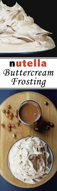 Delicious, creamy frosting. Nutella Buttercream Frosting, Ganache Icing, Cake Decorating Classes, Cake Decorating Tutorials, Flavored Whipped Cream, Yummy Treats, Yummy Food, Food Inspiration, Baking