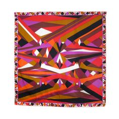 Vintage EMILIO PUCCI kaleidoscopic geo silk scarf 33"