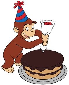 Curious George Decorated a Cake - Colored