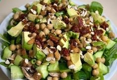 Chickpea, sun dried tomato, avocado, almond, green bean salad- wonderful combo! Almost Skinny Vegan Food