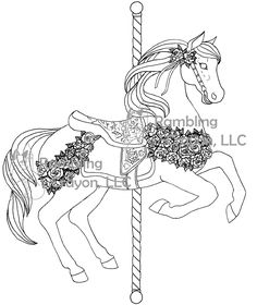 A Coloring Page From Carousel Horses Available HERE