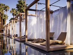 Looking for a SoCal getaway? Check out Long Beach's Hotel Maya, which has floating cabanas (shown), a heated pool and Fuego, a stellar Latin restaurant. Or opt. Outdoor Pool, Outdoor Spaces, Outdoor Living, Outdoor Decor, Rooftop Pool, Backyard Patio, Terrasse Design, Balkon Design, Beach Cabana