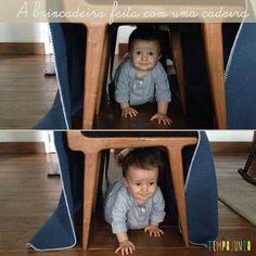 Aproveite os móveis da casa de faça um túnel de cadeira para estimular o seu bebê a engatinhar. É muito bom ver seus pequenos superando desafios!