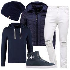Per un pomeriggio di relax i pantaloni bianchi strappati si accostano alla felpa blu con cappuccio . Sopra, viene proposto un piumino e un berretto in lana. Le scarpe sono delle sneakers alte.