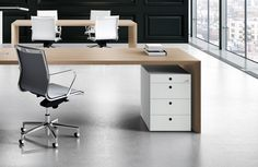 Oak executive desk with a 45 degree edge. Includes desk top cable hatch and cable channel down side panel. Finishes include black, light oak or walnut. White Desk Office, Modern Office Desk, Modular Office, Office Table, Home Office Desks, Office Cubicles, Office Chairs, White Under Desk Drawers, Office Furniture Design