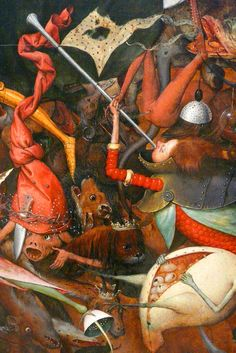 Pieter Bruegel the Elder (ca 1525-1569), The Fall of the Rebel Angels, 1562, detail, oil on oak De Val van de opstandige Engelen, detail.  A human head trumpeting against Archangel Michael, is grafted onto a tailed body made of tiny red bubbles, partly enclosed in a cuirass and a pair of shells. Below, a toad-like creature with bird legs has its belly torn up, exposing its inside eggs.