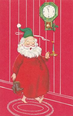Vintage Christmas Card Santa Claus in Nightshirt with Candle and Clock Unused | eBay