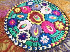 Fabulous! Embroidered Hungarian Centerpiece Matyo Antique Silk  Vintageblessings
