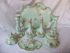 Antique Limoges Porcelain Ladies Dresser Set, 8 pieces, C1890-1910