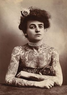 """Maud Stevens Wagner, the first female tattoo artist in the United States, this photo was taken all the way back in 1907.  """"Tattooed Woman"""", Los Angeles, Cal. : The Plaza Gallery, c1907"""