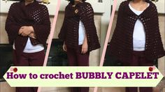 How to crochet BUBBLY CAPELET. Step-by-step tutorial on how to crochet a capelet. I call this bubbly because of the crochet stitch that I use which is like a bubble and creates a heavy texture which adds warmth to the capelet yet it Craft Shed, Crochet Cape, Body Wraps, Capelet, Crochet Stitches, Bubbles, Youtube, Fashion, Moda