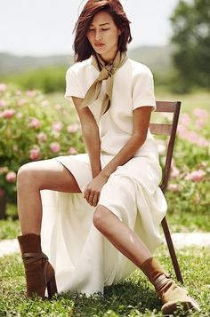 ELLE AUSTRALIA COVER STORY (Elle July 2015) Nicole Warne at Gary Pepper: white maxi dress, cognac boots, taupe silk scarf