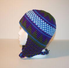 Purple Green and Blues Geometric Ear Flap Hat. by berrysbeanies, $15.00