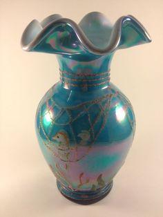 Fenton Art Glass Designer Series Turquoise w/ stylized fish