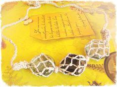 Silver macrame stone necklace natural stone macrame por FamDdaear