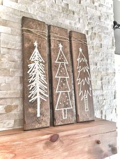 Set of 3 Rustic Wooden Christmas Trees, Xmas Wood Tree Decoration for Holiday Se. - Set of 3 Rustic Wooden Christmas Trees, Xmas Wood Tree Decoration for Holiday Season, Christmas Hol - White Christmas Trees, Christmas Signs, Rustic Christmas, Winter Christmas, Christmas Decorations, Christmas Ornaments, Vintage Christmas, Holiday Signs, Christmas Porch