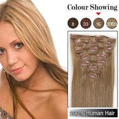 """20"""" 7 Pcs Clips-in Remy Human Hair Extensions #16,  20 inch Clip in Hair shop at Costwe.com"""