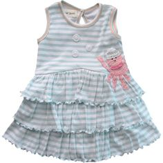 Best of Chums Splash Dress Beach Play Baby  This pretty sundress is perfect for a day on the sand or to cover a little swimsuit after a long day of playing in the surf. Made of soft cotton fabric of pale blue and white stripes and edged at the sleeveless arms and neckline, as well as the key-hole back in pastel pink top-stitching, this dress features three layers of ruffles at the skirt and a beautiful crocheted octopus appliqué at your little girl's left hip. The hat of the octopus and…