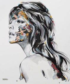 Montréal-based artist Sandra Chevrier gives us a look at her latest artworks called Super Heros Cages, where we get to see a collection of realistic female portraits camouflaged in comic book clippings, using mixed-media techniques that combines co. Sandra Chevrier, Identity Art, Portraits, Comic Styles, Gcse Art, Fashion Painting, Comic Art, Comic Book, Unique Art