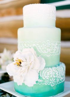 Say hello to summer. This teal ombré cake makes us feel like we're right on the beach! Wedding Cakes, Wedding Cake Designs, Cake Decoration