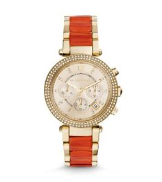 As bright as it is beautiful, our latest Parker watch is trimmed with sparkling pavé stones and vibrant orange accents for a fresh mix of tones and textures. With subtle shine and a glamorous gold-tone finish, this polished piece lends any ensemble a luxe touch.