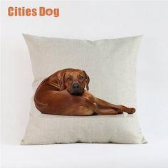 Woven Linen Animal dog Cushion Cover Sofa Car Home Decorative Throw Pillow Rhodesian Ridgeback 45*45cm Almofadas Cojines #Affiliate