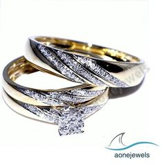 1-2/3 CT Frame Style  Square Shape Round Diamond His Her Trio Wedding Ring Set #aonejewels