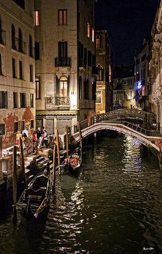 Night By The Canal, Venice, Italy