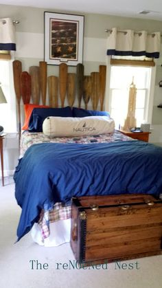 Oar Headboard DIY: Stroke by Stroke I just love the way this nautical teen bed turned out!