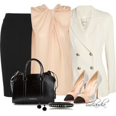 Black, White and Pink for the Office by imclaudia-1 on Polyvore featuring Lanvin, Pierre Balmain, Donna Karan, Nicholas Kirkwood, Burberry, Kenneth Jay Lane and Marni