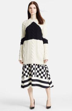 Valentino 'Lana' Aran Knit Wool & Cashmere Tunic Sweater