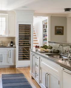 Bewitching Built In Wine Cooler home interior design Beach Style Kitchen Boston