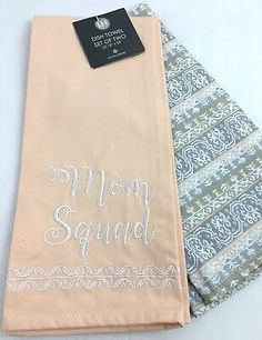 MOM SQUAD Levtex Kitchen Dish Hand Towels Peach Blush Embroidered New $25 190945046543 | eBay Dish Towels, Hand Towels, Tea Towels, Mom So Hard, Peach Blush, Hand Towel Sets, Kitchen Dishes, Squad, Luxury Bedding