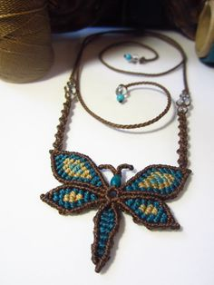 Handmade Butterfly Macrame Pendant Creation with gemstones. $28,00, via Etsy.