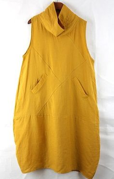 Yellow Loose fitting Maxi dress Linen dress by prettyforest22