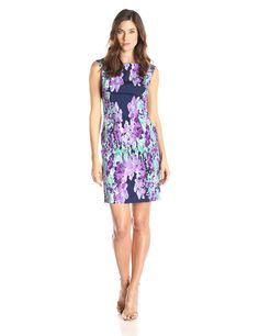 Adrianna Papell Women's Photoreal Floral Placed Print Dress, Navy/Multi, 4