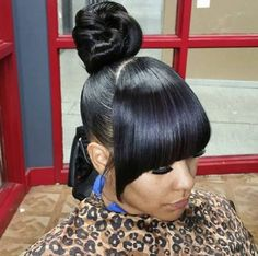 Bun Hairstyles with Bangs for Black Women 851 Best Urban Hairstyles ○ Natural Hair ○ Sew In Weaves Images On – AHA beauty Bangs Ponytail, Weave Ponytail Hairstyles, Protective Hairstyles For Natural Hair, Prom Hairstyles For Short Hair, Ponytail Styles, My Hairstyle, Black Girls Hairstyles, Hairstyles With Bangs, Natural Hair Styles