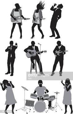 Silueta de músicos Jazz Band, Pencil Art Drawings, Anime, Stencils, Sketches, Carving, Poses, Humor, Abstract