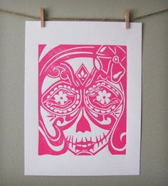 Sugar Skull Print - Pink   A print hand carved from a linoleum block and hand printed wit...   Posters