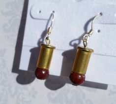Red Jasper Bullet Earrings Bullet Earrings Bullet by blazingembers