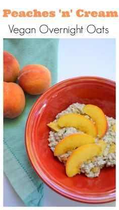 These vegan overnight oats are so delicious and creamy and full of juicy peaches, chia and cinnamon. They take 5 minutes to make and are the perfect healthy quick breakfast.
