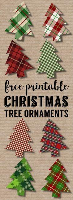 Plaid Christmas Tree Ornaments Printable. Easy Christmas ornament craft. Easy DIY Christmas tree ornament set of plaid Christmas trees. #papertraildesign #DIYChristmas #ChristmasDecor #Christmasprintables #OhChristmasTree
